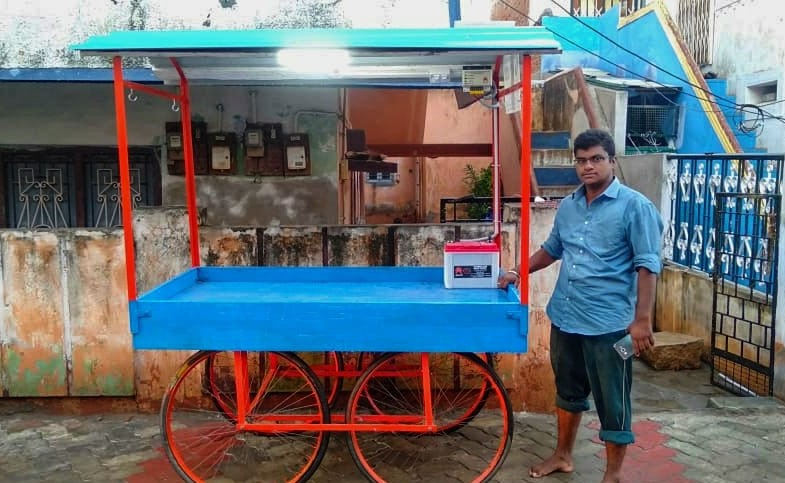 Lighting System for a street food pushcart run by Mr. Jaison Joshva, a transgender in Madurai, Tamilnadu
