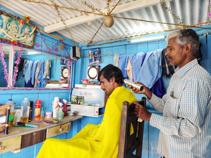 Rajappa, a hairdresser from Kadur installed a solar powered trimming machine and lighting & fan system