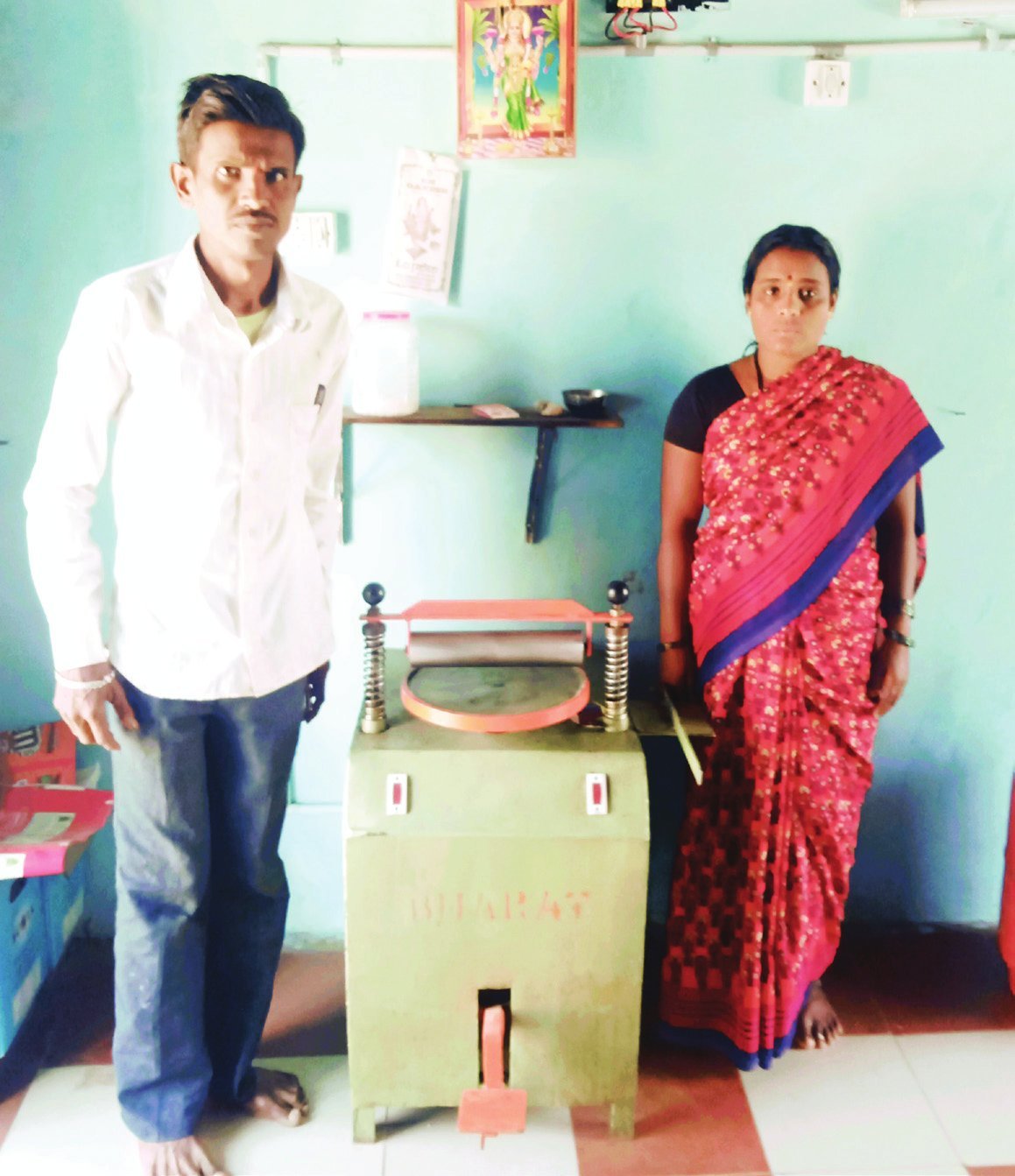 Duriyappanavar is specially abled has installed a Solar powered Roti Rolling Machine